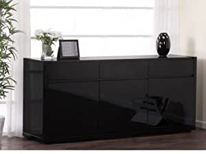 Buffet OURAL - MDF laqué noir - 3 portes & 3 tiroirs