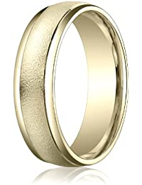18ct Yellow Gold, 6mm Comfort Wired-Finished Polished Round Edge Band (sz H to Z5)