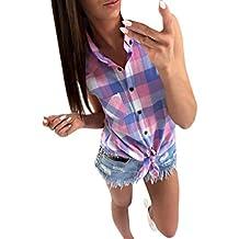 6f5b4de50152 Damen Shirt, GJKK Damen Reizvoller Kariert Shirt Sommershirt Lattice  Gedruckt Bluse Ärmelloses Shirt Casual Tops