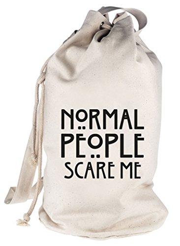 Shirtstreet24, AHS - Normal People Scare Me, bedruckter Seesack Umhängetasche Schultertasche Beutel Bag Natur