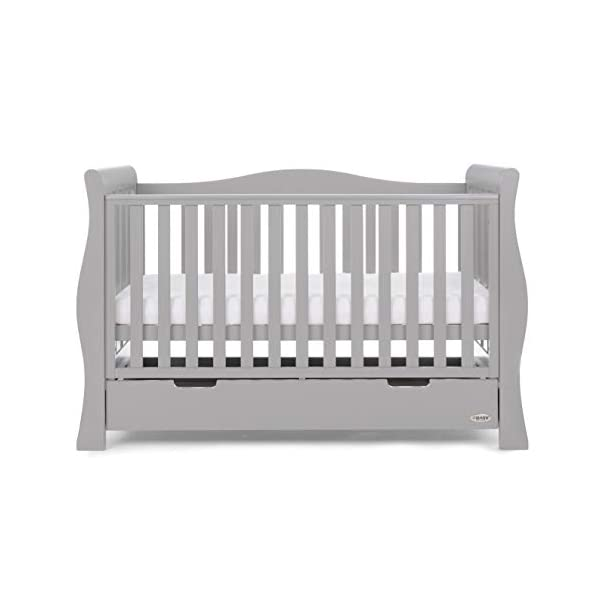 Obaby Stamford Luxe Sleigh Cot Bed, Warm Grey Obaby Adjustable 3 position mattress height Sides remove to transform into toddler bed Includes matching under drawer for storage 7
