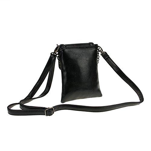 FakeFace Damen PU Leder Schultertasche Umhängetasche Clutch Handtasche Henkeltasche mit Totenkopf Handytasche Handbag Crossbody Bag Geschenk für Damen Mädchen (Schwarz) Schwarz
