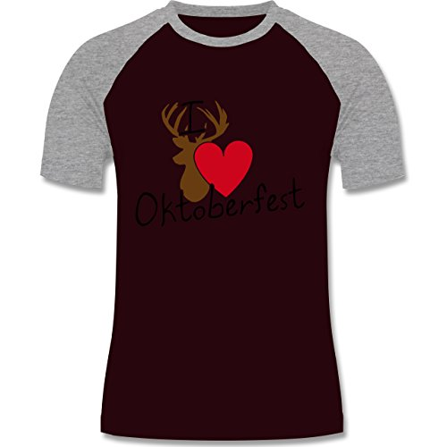 Oktoberfest Herren - Oktoberfest Love Hirsch - zweifarbiges Baseballshirt für Männer Burgundrot/Grau meliert