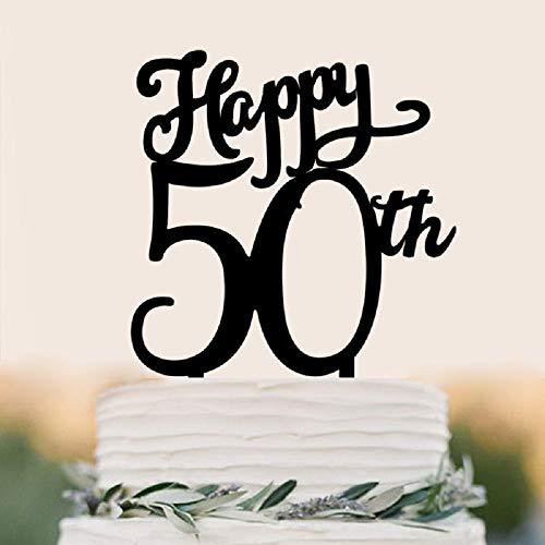 juyue Tortenaufsatz Happy 50th Birthday, Dekoration für Erwachsene, Schwarz (Happy 50th Birthday-dekorationen)