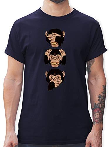 Statement Shirts - DREI Affen - Sanzaru - M - Navy Blau - L190 - Herren T-Shirt und Männer Tshirt