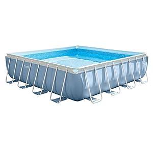 Intex Agp Accessori Piscina Prisma Frame Quadrata con Pompa Filtro, Scaletta, Telo Base e Copertura 427 x 427 x 107, Azzurro, 71.1x58.7x122.6 cm