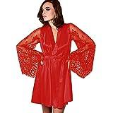 OverDose Damen Frauen Damenmode Nachtwäsche Dessous Spitze Versuchung Gürtel Unterwäsche Home Party Luxus Nachthemd Bademantel Morgenmantel(Rot,EU-38/CN-XL)