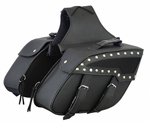 Motorrad Satteltasche Leder - Pannier Side Werkzeugtasche - QBag Satteltaschen Motorrad Gepäck Satteltaschenpaar Motorradgepäck -Regenhaube, schwarz