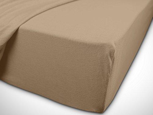 npluseins klassisches Jersey Spannbetttuch - erhältlich in 34 modernen Farben und 6 verschiedenen Größen - 100% Baumwolle, 90-100 x 200 cm, hellbraun - 7
