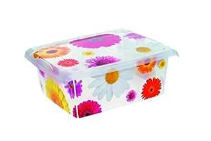 OKT 2053532 Fashion Boîte de Rangement PinkFlowers Plastique Multicolore/Transparent 10 L