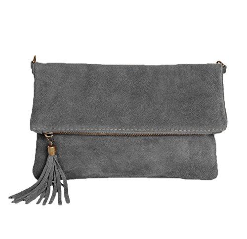 ImiLoa Leder Clutch grau kleine Ledertasche Wildleder Umhängetasche Abendtasche Partytasche Handtasche Lederhandtasche 24-gry -