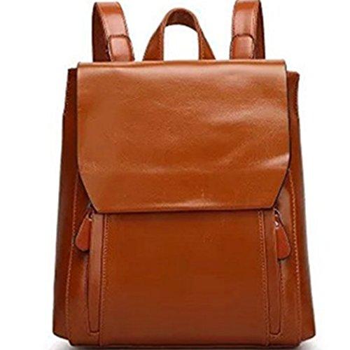 Naerde europäischer Stil Rucksack Fashion PU Leder Rucksack Schulter Taschen Rucksack für Mädchen oder Frauen (braun) (Leder Ein-schulter-rucksack)