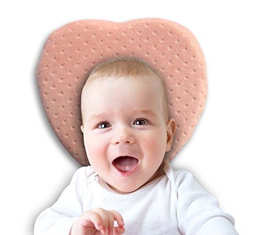 mediloona Baby Cojín para cabeza de una bonita forma de almohada: Baby de alta calidad Memory Foam–Anti Platt–Almohada (plagiocefalia–Cabeza de deformación) rosa Herz mit rosa Bezug