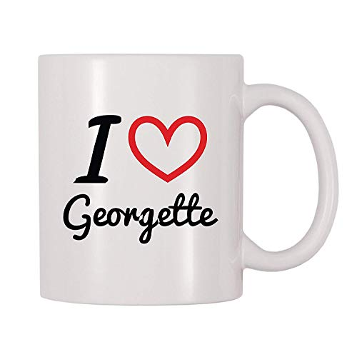 I Love Georgette Personalized Name Coffee Mug (11 oz) (Cool Georgette)