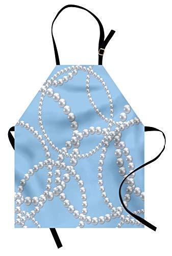 ABAKUHAUS Perlen Kochschürze, Perlenkette Armband Klassische Frauen Braut Bräutigam Dusche Thema Feminine Art, Farbfest Höhenverstellbar Waschbar Klarer Digitaldruck, Babyblau Weiß