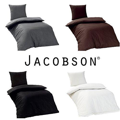 Jacobson Bettwäsche 135x200 cm Renforce 100% Baumwolle Bettbezug Kissenbezug (4-teilig, Weiss)