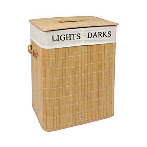 EHC–Cesta, caja de almacenamiento, rectangular, de bambú, plegable, 2 compartimentos, para la colada, 40x 30x 50cm, color natural