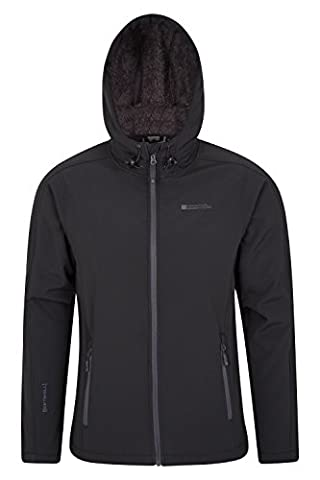 Mountain Warehouse Arctic Men's Soft-shell Jacket - Breathable, Water Resistant with Adjustable Fit & Chin Guard - Perfect for Light Showers & Everyday Use Black Large