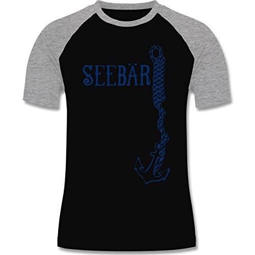 Schiffe - Seebär Anker - zweifarbiges Baseballshirt für Männer Schwarz/Grau Meliert