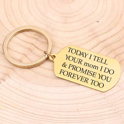MEIHEK 1 Stück Schlüsselbund graviert Heute sage ich deiner Mutter, ich verspreche es dir auch Immer Schritt Kind Hochzeitsgeschenk Schlüssel Dekor Gold (Ich Verspreche Ihnen-ring)