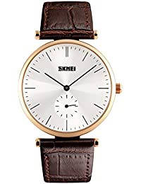 Naivo Men's Quartz Stainless Steel and Leather Color:Brown (Model: WATCH-1160)