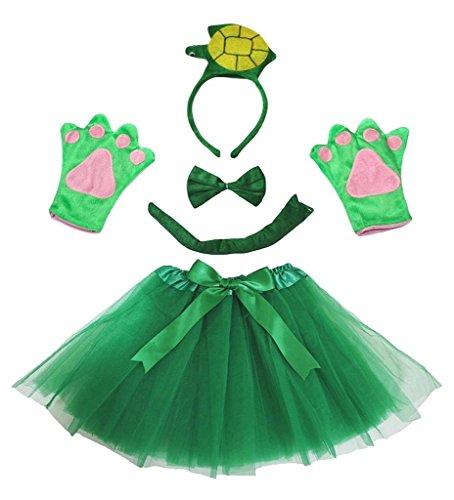 Petitebelle 3D-Stirnband Bowtie Schwanz Handschuhe Tutu 5pc Mädchen-Kostüm Einheitsgröße 3D Gruen Turtle (Baby Und Kind Green Turtle Kostüm)
