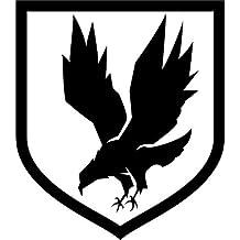 Adesivo logo militare con aquila prespaziato senza fondo, in vinile colore nero lucido, 15 centimetri. Personalizza auto, moto, caschi, camion, furgoni, fuoristrada e 4x4, car wrapping e tuning, barche, valige, vetri, mobili e qualsiasi altra superficie liscia.
