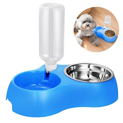 UEETEK Automatische Futterspender,Haustier Hund Trinken Dispenser Futternapf mit Anti-Rutsch Spill Basis für Kleine Mittel Hunde Katzen
