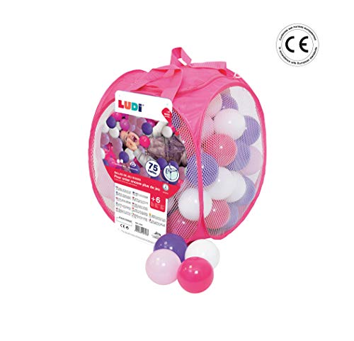 LUDI - Sac de 75 balles multicolores souples en plastique anti-écrasement. A partir de 6 mois. Balles à lancer, faire rouler et pour piscine à balles. Diamètre : 6 cm - réf. 2793