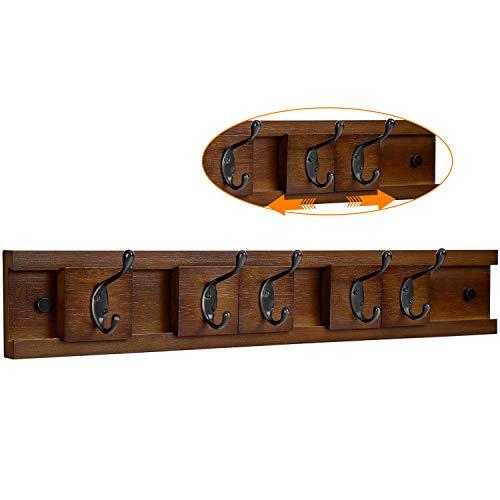 Gblife appendiabiti di legno a parete 5 ganci (marrone)