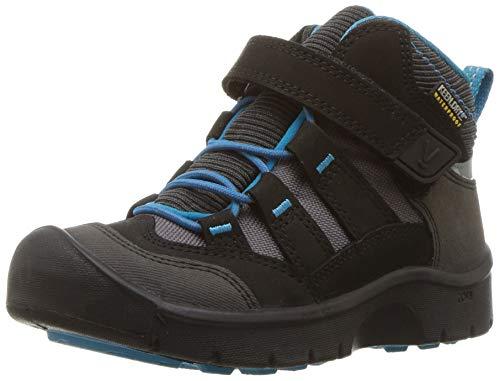 Keen Hikeport Mid Wasserdichter Kinder Outdoor-Stiefel, Keen.Dry Membran für Wasserdichtigkeit und Atmungsaktivität, Schnellschnürung , Schwarz (BLACK /BLUE JEWEL), EU 30 Klett