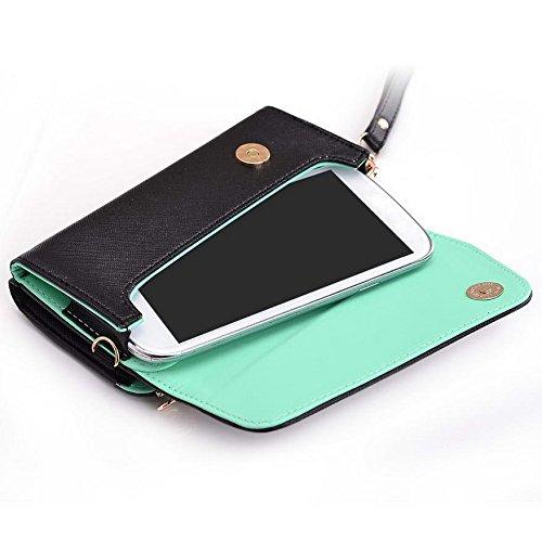 Kroo d'embrayage portefeuille avec dragonne et sangle bandoulière pour Alcatel Pixi 3(4,5)/One Touch Pop Astro Multicolore - Noir/rouge Multicolore - Black and Green