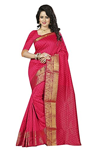 Vatsla Enterprise Women's Banarasi Silk Saree (VGRTVLAPINKSAREE_PINK)