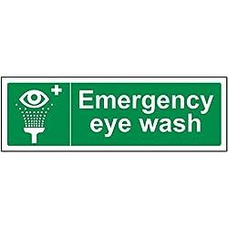 vsafety 23022ax-s lavaojos de emergencia condiciones de seguridad general señal, autoadhesivos, paisaje, 300mm x 100mm, color verde