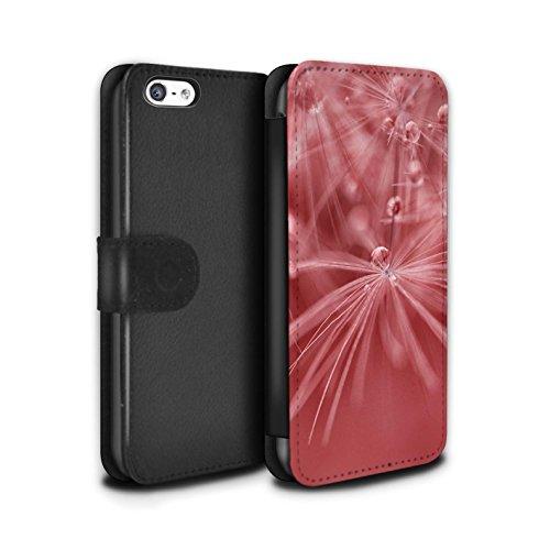 Stuff4 Coque/Etui/Housse Cuir PU Case/Cover pour Apple iPhone 5C / Fleur Vert Design / Gouttes de Fées Collection Fleur Rouge