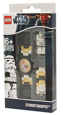 LEGO Star Wars Storm Trooper Minifigure Children's Quartz Watch with Yellow Dial Analogue Display and Multicolour Plastic Link Strap 8020424