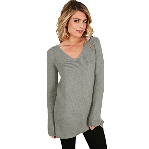 MEI&S Col en V femmes Regroupement cavaliers occasionnels Haut Pull Sweater sweat-shirts Grey