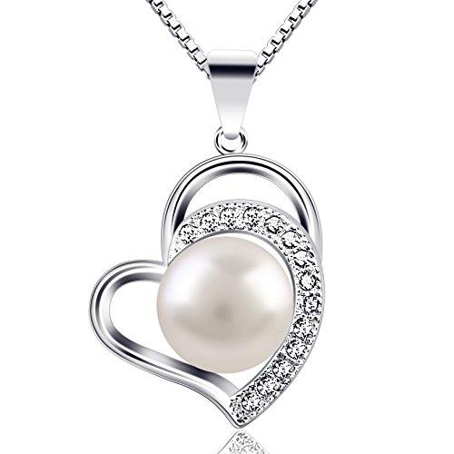 B.Catcher Kette Perle Damen Herz Halskette 925 Sterling Silber Anhänger Liebe und Dauerhaft Schmuck 45CM Kettenlänge Geschenk für Damen