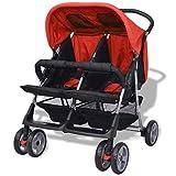 Festnight Klappbar Zwillingswagen Baby Zwillingskinderwagen Kinderwagen 93 x 68 x
