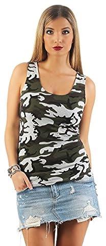 Mr.Shine Damen Stretch T-Shirt Camouflage Tanktop Hemd Rundhalsausschnitt Ärmelloses Top 9044 Größe S, M, L, XL, XXL (XXL,
