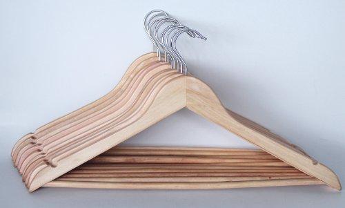 Preisvergleich Produktbild Mondex mon9200 / 10 Flach Kleiderbügel mit Holz Bar natur lackiert 42 cm Länge – Set von 10