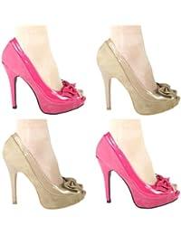 High Heels Peeptoe Plateau im Italy - Design 13 cm Lack 2 Farben pink und beige braun