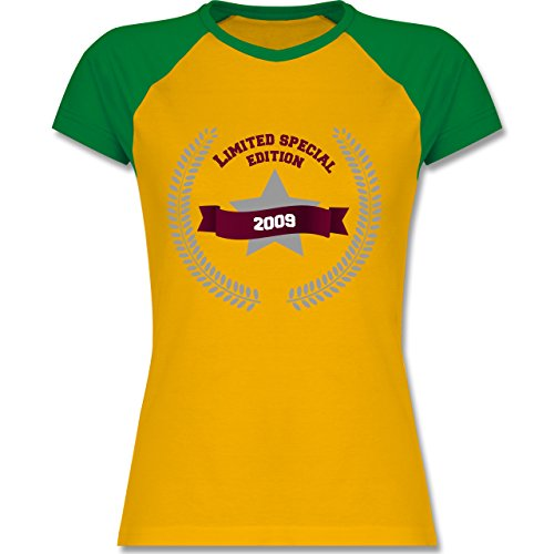 Geburtstag - 2009 Limited Special Edition - zweifarbiges Baseballshirt / Raglan T-Shirt für Damen Gelb/Grün