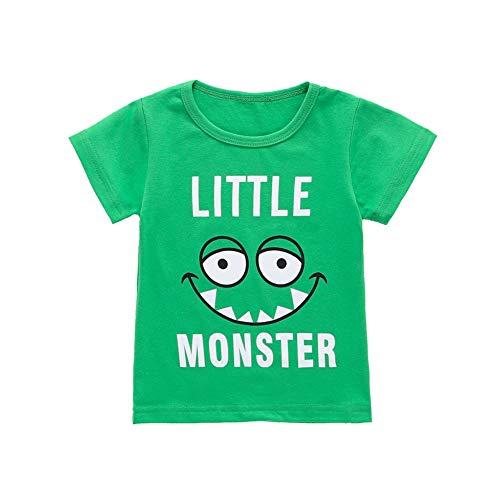 Kleinkind T-Shirt Monster Brief gedruckt Unisex grün Sommer Shirt Top für Junge Mädchen