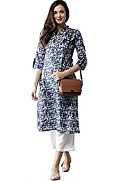 Fabsom Blue And Off White Printed Straight Cotton Kurti For Women