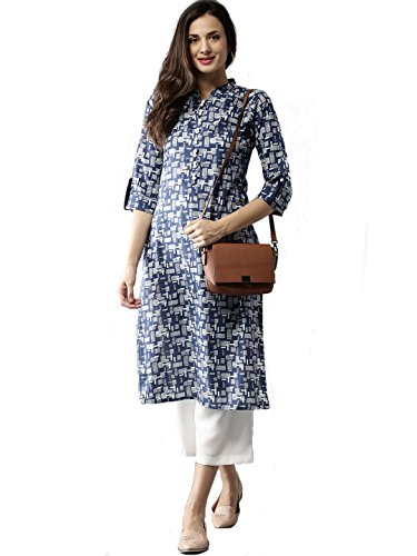 Fabsom Blue and Off White Printed Straight Cotton Kurti for Women (XX-Large)