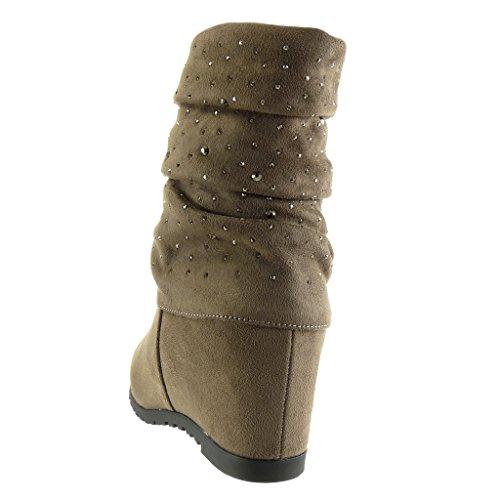Angkorly - Scarpe da Moda Stivaletti - Scarponcini flessibile donna strass Tacco zeppa 8 CM - soletta Foderato di Pelliccia Khaki