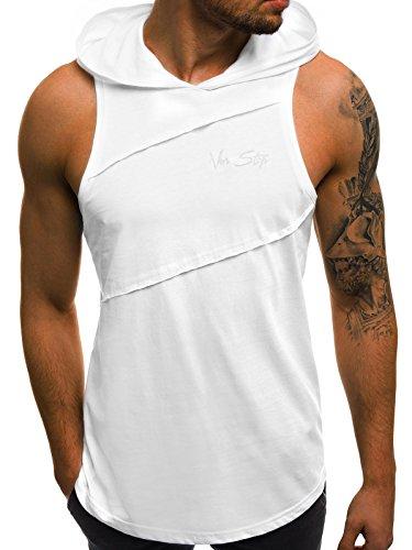 OZONEE Mix Herren Tanktop Tank Top Tankshirt T-Shirt Kapuze Unterhemden Ärmellos Muskelshirt Fitness MAD/2538 WEIß S (Shirt Kapuze ärmelloses Mit)