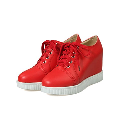 AgooLar Femme Matière Mélangee à Talon Haut Rond Couleur Unie Lacet Chaussures Légeres Rouge
