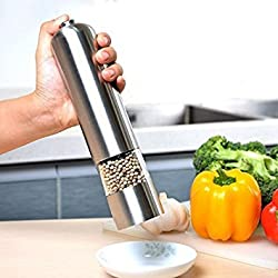 Tosaa Stainless Steel 22 cm Electric Pepper Mill (Silver)